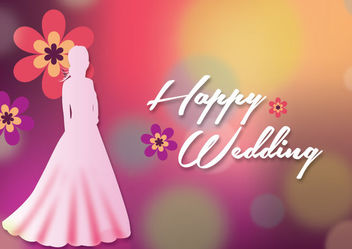 Bride Silhouette Colorful Wedding Background - vector gratuit #166271