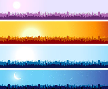 Morning to Night Cityscape Banner Pack - vector gratuit #166301