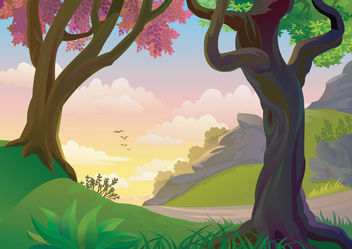 Beautiful Painted Nature Scene - бесплатный vector #166311