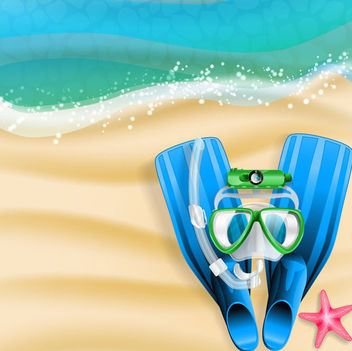 Summer Beach with Flipper & Snorkel - vector gratuit #166321