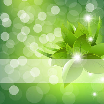 Abstract Green Flower Background with Bokeh - vector gratuit #166341