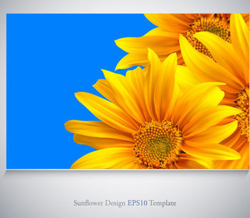 Realistic Sunflowers on Blue Background - vector gratuit #166371