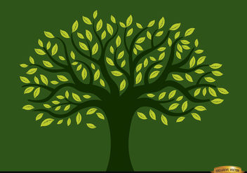 Painted tree full of yellow leaves - vector gratuit #166421