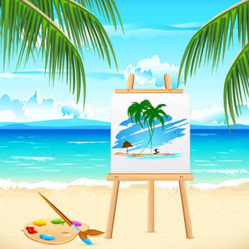 Summer Sea Beach with Art Board - vector gratuit #166441