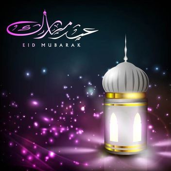 Creative Glowing Mosque Lamp with Eid Greetings - vector gratuit #166491