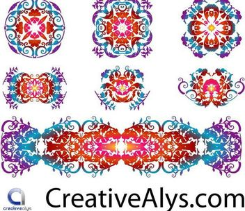 Creative Floristic Pattern Set - vector gratuit #166521