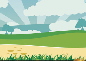 Cartoon Green Landscape - Free vector #166551