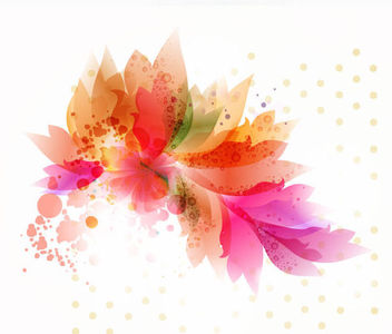 Colorful Floral Art with Bubbles & Dots - Free vector #166581