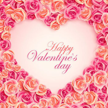 Valentine Heart Frame with Roses - vector gratuit #166591