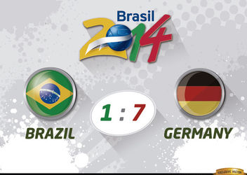 Brazil 1 - 7 Germany results World Cup - Free vector #166611