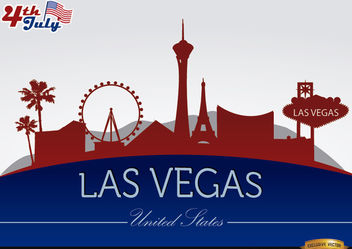Las Vegas city silhouettes on July 4th - vector gratuit #166761