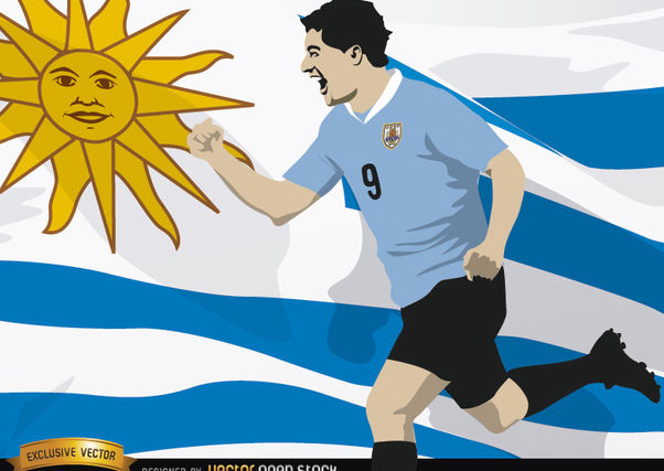 Luis Suarez with Uruguay flag - vector gratuit #166791
