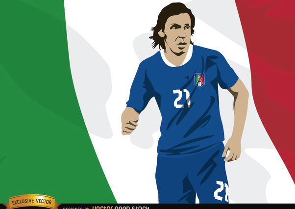 Italy footballer Andrea Pirlo with flag - vector gratuit #166851