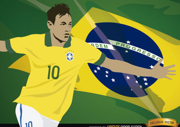 Football player Neymar with Brazil flag - vector gratuit #166861