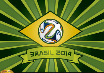 Brasil 2014 ribbon and beams background - vector gratuit #166871