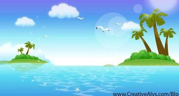 Fresh Beautiful Tropical Ocean Island - Kostenloses vector #166971