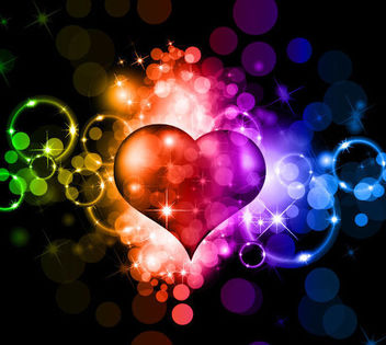 Fluorescent Colorful Valentine Background with Sparkles - vector #167001 gratis
