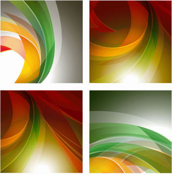 4 Backgrounds with Rounding Colorful Stripes - Free vector #167031