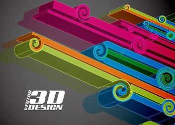 3D Abstract Ornate Line Background - бесплатный vector #167151