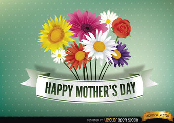 Happy Mother's day ribbon with daisies - Free vector #167371
