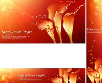 Red Zantedeschia Bright Background with Shades - vector gratuit #167411