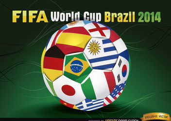Brasil 2014 Footaball with Team Flags - vector gratuit #167471