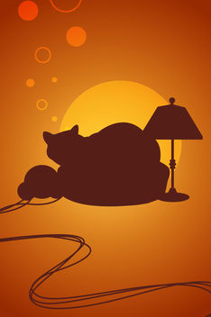 IPhone Background with Cat and Bubbles - vector gratuit #167521