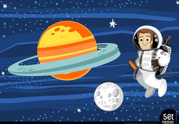 Astronaut floating in outer space - Free vector #167531