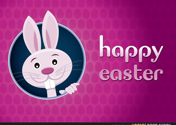 Happy Easter Greeting Card with Rabbit - Free vector #167581