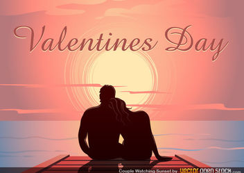 Valentine's Sunset Dock - vector gratuit #167691
