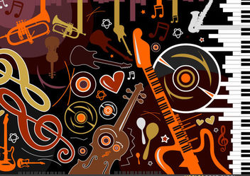 Stylish Musical Instruments and Symbols - Free vector #167711