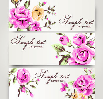 3 Romantic Banners with Roses - vector gratuit #167821