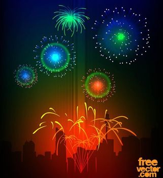 Colorful Celebration Night Fireworks - vector gratuit #167841