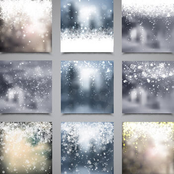 Blurry Snowy Xmas Backdrop Pack - Free vector #167921