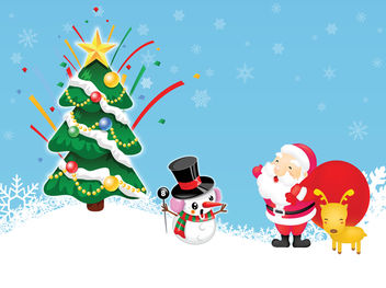 Funny Style Xmas Santa Claus and Snowman - Kostenloses vector #167951