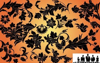 Swirly & Leaves Floral Set Silhouette - vector gratuit #168021