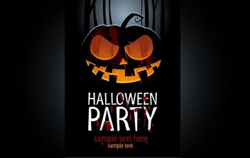 Template Poster with Evil Pumpkin - vector #168091 gratis