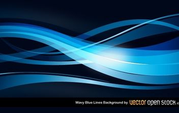 Wavy Blue Lines Background - vector gratuit #168531