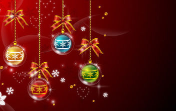 Xmas Balls Red Background - vector gratuit #168581
