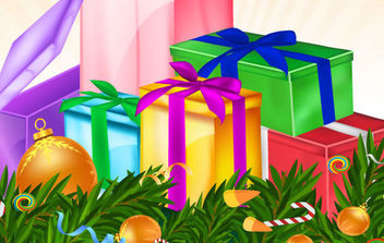 Christmas Card with Variety of Gifts - vector gratuit #168631
