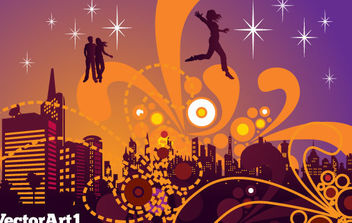 City Nightlife Vector - vector gratuit #168721