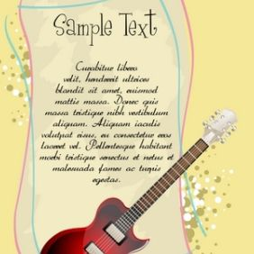 Guitar With Text Template - vector gratuit #168891
