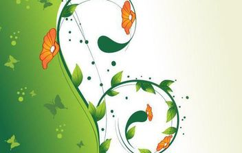 Green Swirl Floral Vector illustration 2 - vector gratuit #168971