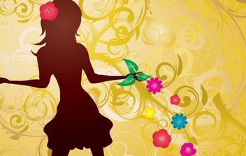 Girl with Flowers Vector illustration - vector gratuit #169111