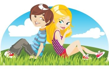 Two young person - vector gratuit #169231