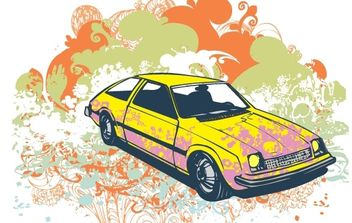 Grunge retro car vector illustration - Free vector #170191