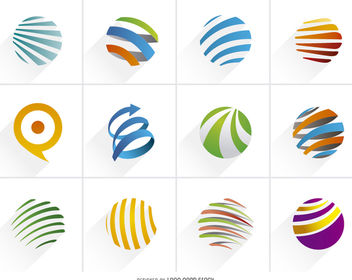 Colorful Spiral Globe Logo Set - Free vector #170251