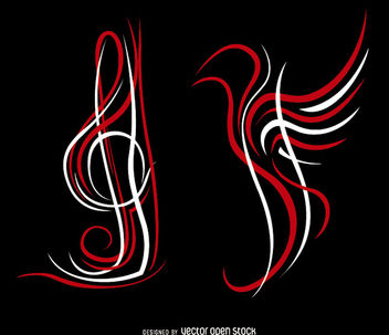 Pinstripes treble clef and bird - vector #170281 gratis