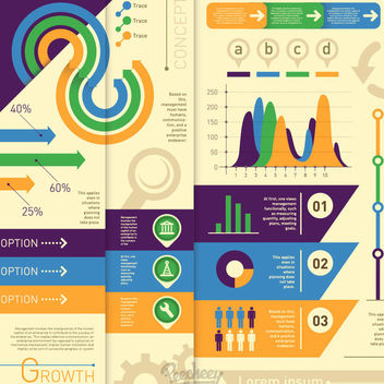 Minimal Colorful Statistical Infographic - vector #170301 gratis