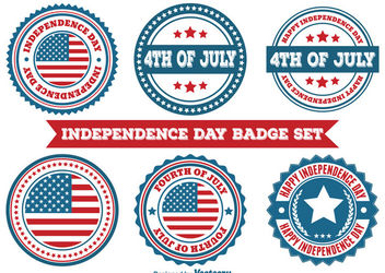 Independence Day Round Badge Set - vector gratuit #170311